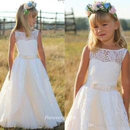 Dresse da flor branca on-line-2019 Bonito Branco Da Menina de Flor Vestidos de Alta Qualidade Caixilhos Longo Ocasião Especial Ocasião Vestido Comunhão Dresse Menina Pageant Vestido