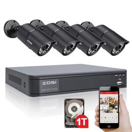 домашние кинотеатры Скидка ZOSI 8CH CCTV System 720P DVR 4PCS 1.0MP HD 1200TVL IR Weatherproof Outdoor CCTV Camera Home Security System Surveillance Kits