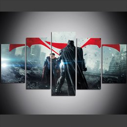 superman prints Coupons - 5 Piece Large Size Canvas Wall Art Batman vs Superman HD Print Oil Painting Wall Art Pictures for Living Room Paintings Wall Decor