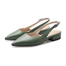 Sandali piatti in pelle nera donna online-Nuovi sandali firmati da donna Sling Back per sandali da donna Tacchi piatti in vera pelle Nero Albicocca Verde Taglia US6-9.5