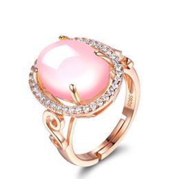 Большие кольца онлайн- Large Pink Finger Rings Rose Gold Color Fashion Jewelry Ethnic Stone Crystal Elegant Rhinestone Open Ring
