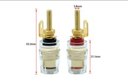 Adaptadores de poste de encadernação on-line-50pcs 4mm Banana soquete Professional banhado a ouro Binding Post Nut Banana plug Jack Connector Limpar Speaker Jack adaptador de tomada