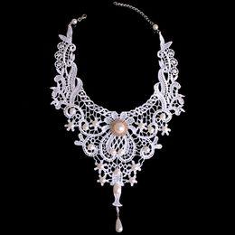 Jóia de moda victoriana on-line-Moda Branco Doce Rendas Pérola Gota Pandent Mulheres Colar Elegante Do Vintage Do Victorian Casamento Noiva de Luxo Pescoço Chocker Jóias
