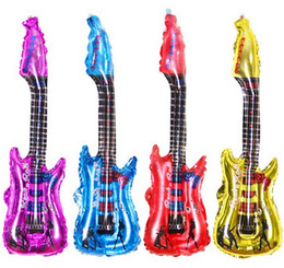 guitar decorations Promo Codes - Balloons Inflatable Tool Inflatable Guitar Music Part Prop Party Wedding Decoration Aluminum film balloons birthday toy festival decoration