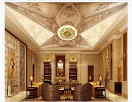 pinturas clássicas anjos Desconto Personalizado 3D teto foto zênite mural de parede decoração padrão europeu Golden Royal Series Hotel Zenith Mural de teto
