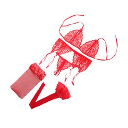2019 кружево с открытой кружкой 4 Pcs Bra Set Lingerie Drop A B C CUP  Women Lace Sexy Open Bra Sleepwear G-string Garter Belt Black Pink Red 2017 дешево кружево с открытой кружкой