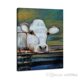 Soyut Hayvan Inek Doğa kaliteli Tuval, Handpainted / HD Baskı Ev Dekor Duvar Sanatı Yağlıboya Tuval Üzerine Çok Boyutları / Çerçeve Seçenekleri A149 nereden doğa kanvas tedarikçiler