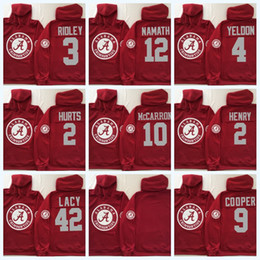 Camisetas de la universidad de alabama online-2 Jalen Hurts Alabama Crimson Tide Hoodie 2 Derrick Henry 3 Ridley 9 Bo Scarbrough 4 T.J. Yeldon NCAA College Football Jersey