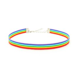 Argentina Gay Pride Rainbow Choker Collar LGBT Gay and Lesbian Pride Lace Chockers Collar de cinta con colgante de joyería para hombres, mujeres cheap gay pride jewelry Suministro