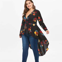 Hochwertige hemden online-Rosegal Plus Size Sexy V-Ausschnitt High Low Floral Maxi Bluse Herbst Langarm Asymmetrische Blusen Freizeithemd Damen Tops Blusas T3190613