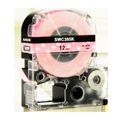etichetta nera rosa Sconti 5PCS Puty SWC305K Nastro adesivo 12mm compatibileKingJim LW-300 LW-400 LW-500 LW-600 Nero su etichetta rosa fiore