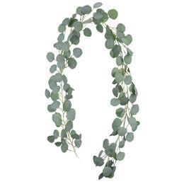 Decorazioni a foglia online-Foglie di eucalipto artificiale ghirlanda di seta finto Vines verde corona 61/2 piedi matrimonio sfondo decorazione della casa