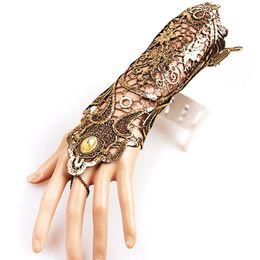 handschuhe taktisch grün Rabatt 1 Stücke Frauen Spitze Fingerlose Lange Handschuhe Retro Aushöhlen Rutschfeste Kette Armband Handschuhe Goth Party Kostüme Elegante Gold