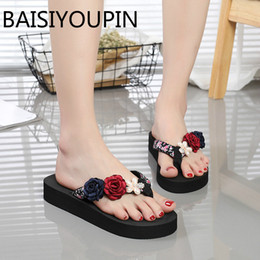 diy flip flops Promo Codes - 2018 Female Flowers Handmade DIY Flip Flops Summer Women Beach Shoes Slippers Sandals All Match Korean Fashion Outdoor Slides