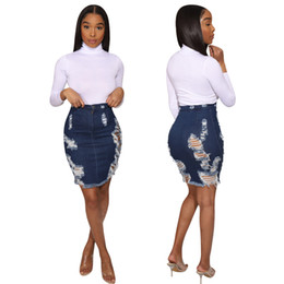 other clothing wholesale Promo Codes - Women's denim skirt above knee A-line natural color Sexy & Club skirt fashion hole zipper fly buttons bodycon summer clothing plus size 269