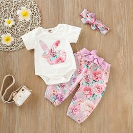 jour de paques 2019 nouveaux enfants bodny bodny bodys girls dessins de broderie barboteuses arc pantalons de fleurs bandeau ? partir de fabricateur