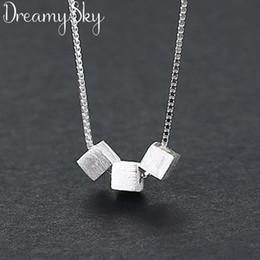 2019 boîtes de cadeau de cube Simple 925 Sterling Silver Cube Box Colliers Pour Femmes Longues Chaînes Ras Du Cou Colliers Déclaration Bijoux Filles Cadeau 2019 boîtes de cadeau de cube pas cher