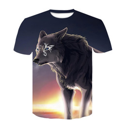 Teens A Domineering Wolf Children Polyester Short Sleeve T-Shirt with Round Neck for Boys and Girls