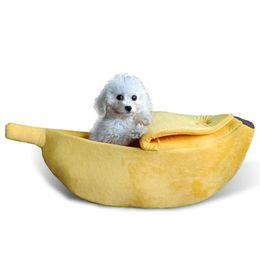 cama de banana Desconto Respirável Pet Cat Dog Bed Forma de Banana Inverno Quente Puppy House Confortável para Totoro Esquilo Cobaia Pequeno Animais de Estimação Cães Acessórios S M L