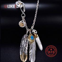 penas de águia Desconto Colar de Prata 925 esterlina sólida para homens encantos do vintage Takahashi Goros Pendant Pena de Eagle Cadeia P1022 novas jóias populares
