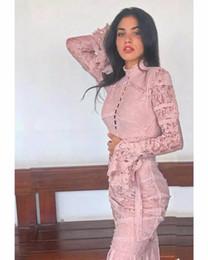 b58b151f12 2019 rosa bodycon vestidos de manga larga Vestido de encaje elegante negro  rosa sexy vestido de