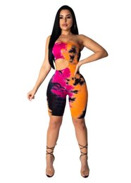 5624cacc24d5 cut out bodycon jumpsuits Promo Codes - 2019 new women Sexy Tie-dyed  strapless cut