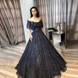 ab2646b70 2019 faísca Faísca Brilhando Lantejoulas Pretas Vestidos de Baile Fora do  Ombro Ruffle Formal Evening Zipper