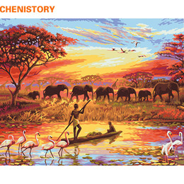 handgemalte elefantenwandkunst Rabatt Hand bemalt CHENISTORY Elefant Sonnenuntergang Diy Malen nach Zahlen Landschaft Moderne Wand-Kunst-Leinwand-Malerei Handgemalte einzigartiges Geschenk für Haus