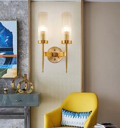Argentina Nordic posmoderno doble cabeza lámpara de pared simple luz creativa de lujo sala de estar fondo pared pasillo escalera dormitorio hotel lámpara de noche cheap double bedside lamp Suministro