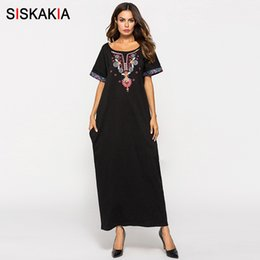 cb6535485a Siskakia Women Long Dress Black Ethnic Embroidery Patchwork Maxi Dresses  Summer 2018 Urban Casual T Shirt Dress Muslim Clothing J190430 discount v  neck t ...