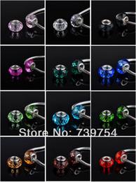 bouchon de perles de 9 mm Promotion Gros-50pcs / lot !! Mixte 12 couleurs argent 925 perles de verre de Murano Europe Convient Bracelets Colliers Pendentifs