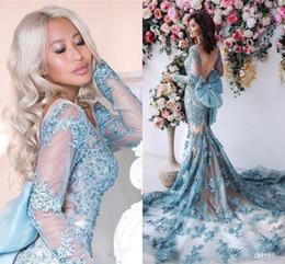 3b997fbbdea 2019 sexy wulstige meerjungfrau bogen 2019 New Sheer Long Sleeves Mermaid  Prom Kleider Backless Bogen Abendkleid