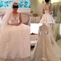 f2a44aabb joyas de novia Rebajas 2019 Vintage Lace A-Line vestidos de novia Sheer Jewel  Neck