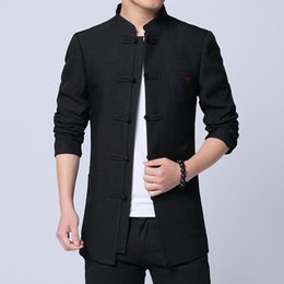 cotton tang jacket Coupons - Chinese Style Clothes 2019 Spring New Fashion Classic Tang Suit Jacket Men Cotton Comfortable Fabric Mens Jackets and Coats
