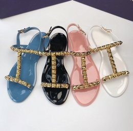 4266703dc9185c New 2019 Designer Women White Black Pink Blue Jelly Sandals Brand Sexy  Summer Flat Beach Sandal Shoes 35-39 Free Shipping