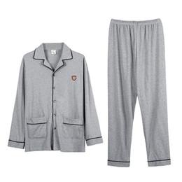marcas de pijamas de algodón Rebajas Nuevo conjunto de pijamas de algodón para hombre ropa de dormir ropa para el hogar gris ropa de manga larga chaqueta de punto de calidad superior de ocio pijamas traje 3XL