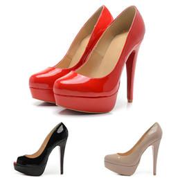 Каблуки на платформе онлайн-Мода платформа Женщины туфли на высоком каблуке 14 см твердые днища Марка дизайнер Peep круглые пальцы черный красный коричневый насосы роскошные туфли размер 35-42
