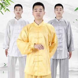 2019 kampfkunst hosen männer Kung Fu Martial Arts Uniformen Frauen Männer Silk Tai Chi Kleidung Langarm Wushu Anzug Outdoor Walking Morgen Sprots Top + pants rabatt kampfkunst hosen männer