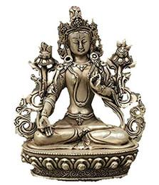Statue del buddhismo online-Buddismo tibetano argento del Tibet di rame statua di Buddha bianco tara