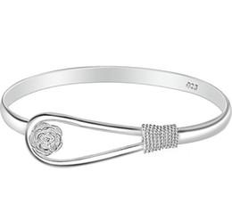 2019 braccialetto d'ottone africano Bracciale Fiore Rosa delle donne 925 Silver plated bracciale ragazza Bracciali braccialetti di modo signora signore braccialetto regali gioielli a buon mercato all'ingrosso