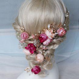 Piedini accessorio abiti online-Elegante da sposa Matrimonio Fiore Perle copricapo Perni di capelli Prom Party Dress Up Accessori Boemia Handmade di alta qualità