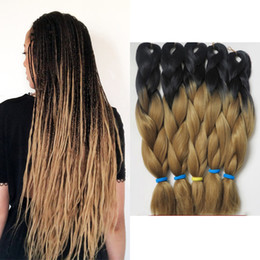 red hair color hairstyles Promo Codes - 24 inch 100g Ombre Kanekalon Synthetic Crochet Hair Extensions Jumbo Braids Hairstyles Auburn Brown Blonde Red Blue Xpression Braiding Hair