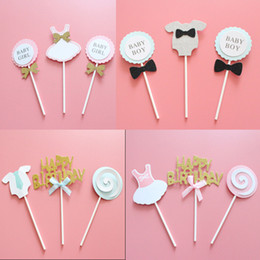 Letra topper online-3PCS Letter Cake Placard Child Happy Birthday Cake Topper Cake Decoration Paper Card Birthday Arrangement Wholesale