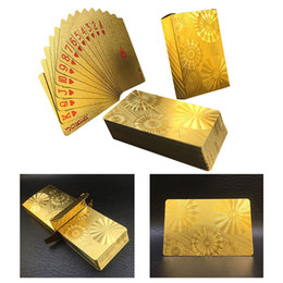 play card magic Coupons - Golden Foil Plated Normal Playing Cards Poker 52 Cards Special Unusual Birthday Gift Poker Waterproof Magic