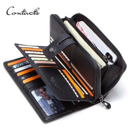 Cartera larga de cuero genuino para hombres con tarjeteros monedero con cremallera de embrague masculino para billeteras de lujo de negocios de teléfonos celulares desde fabricantes