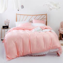 Algodão Tencel-como Lace Beddingset Queen King Size Rosa Beddingset 3 PCS (1 Capa de Edredão + 2 Fronhas) Têxteis Para o Lar Conjuntos de Cama Consolador cheap pink comforter queen lace de Fornecedores de edredom rainha rosa