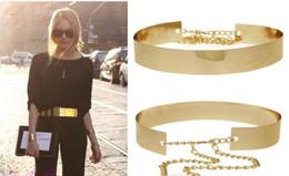 2019 cintura in metallo pieno Fashion Women Full Gold / Silver Metal Mirror Cintura in metallo placcato oro Largo Obi Band con catene cintura in metallo pieno economici