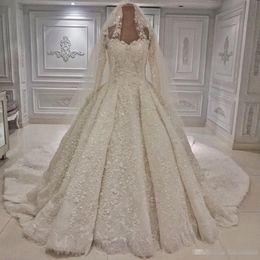 Dubaï arabe style robe de bal robe de mariée blanche robes de luxe perlée appliqued pure manches longues mariée formelle robes de mariée église avec voile ? partir de fabricateur
