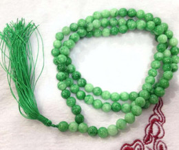 Perle di perle naturali mm online-Jewelryr Pearl Necklace 6 mm / 10m Natural Green Tibet buddista credenze 108 Prayer Beads Mala Necklace Spedizione gratuita