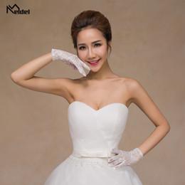 laço de dedo Desconto 2019 Venda Quente Lace Dedo Luvas de Noiva Luvas de Casamento Branco Disponível Cosplay
